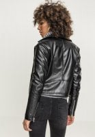 Ladies Faux Leather Biker Jacket black