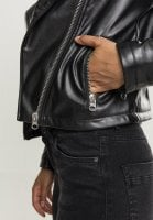Ladies Faux Leather Biker Jacket pocket
