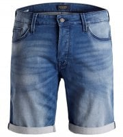 Blue jeans shorts with washed wear