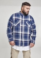 Blue checkered shirt men plus size button