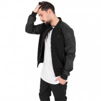 Bomber jacket cotton/imitationleather black
