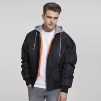 Bomberjacket with hood black/gray model front