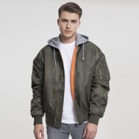Bomberjacket with hood olive/gray model front