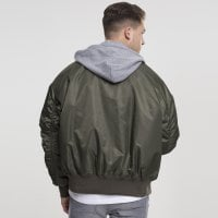 Bomberjacket with hood olive/gray model back