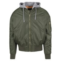 Bomberjacket with hood olive/gray front