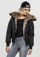 Bomber jacket with fur black
