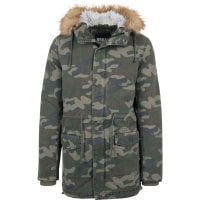 Camo parka washed look