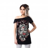 Cat Muerte off shoulder t fram