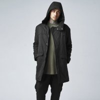 Cotton Peached Canvas Parka fram modell svart