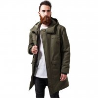 Cotton Peached Canvas Parka oliv fram