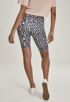 Bicycle trousers with high waist and leopard pattern grey back