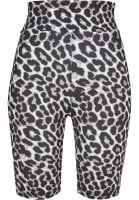 Bicycle trousers with high waist and leopard pattern front