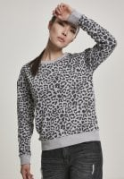 Ladies sweater in gray leopard pattern front