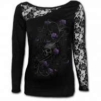 Entwined Skull lace one shoulder top