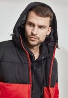 Hooded 2-Tone Puffer Jacket red hoodie