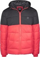 Hooded 2-Tone Puffer Jacket red