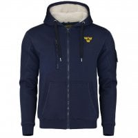Hoodie with fur and three crowns navy blue 1
