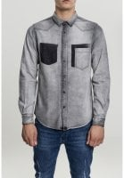 Gray Jeans shirt with stylized chest pocket