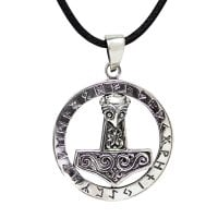 Thor's Hammer With Runor Necklace