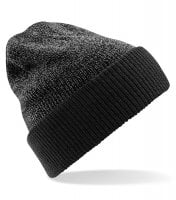 Knitted two-color beanie grey black