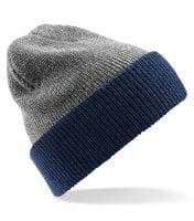 Knitted two-color beanie grey navy
