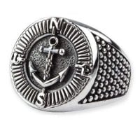 Compass and Anchor ring in silver