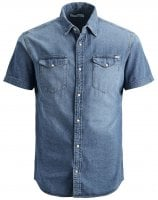 Men's slim fit short-sleeved jeans shirt