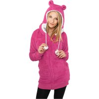 Ladies Long Teddy Zip Hoody rosa fram
