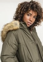 Long puff jacket with fur hood 5