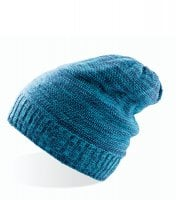 Long knitted beanie Navy/Turqouise