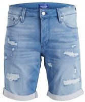 Light blue jeans shorts with worn out