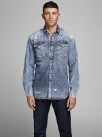 Light blue jeans shirt with wear 2