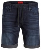 Dark blue jeans shorts with elastic waist