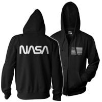NASA black flag zipped hoodie