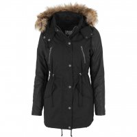 Ladies Leather Imitation Sleeve Parka Jacka Svart 3