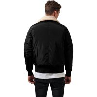 Bomber jacket with fur collar pilot black back