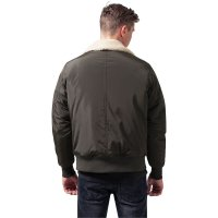 Bomber jacket with fur collar pilot olive back