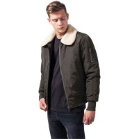 Bomber jacket with fur collar pilot olive front