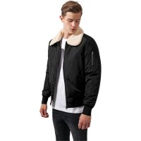 Bomber jacket with fur collar pilot black front
