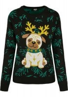 Pug christmas sweater lady 1