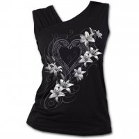 Pure of heart gathered shoulder slant vest