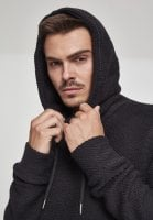Straight sweater in woven fabric hoodie