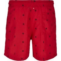 Red swim shorts with embroidered leafs 3