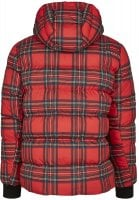 Red checkered hooded jacket back
