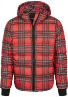Red checkered hooded jacket front