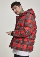 Red checkered hooded jacket pocket