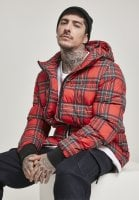 Red checkered hooded jacket red
