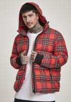 Red checkered hooded jacket