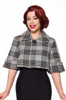 Checkered waist short lady jacket