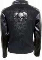 Skull scroll biker jacket women
